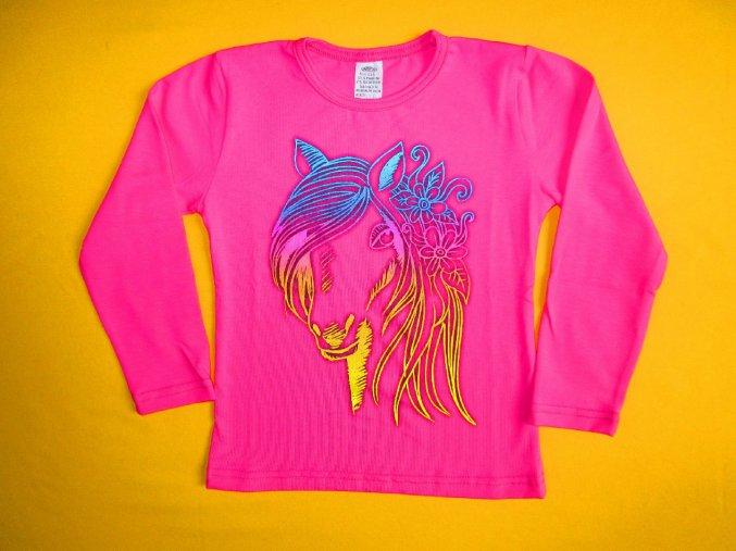 Dívčí tričko dlouhý rukáv duhový kůň 1