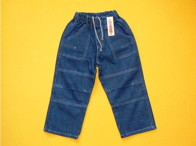 Jeans kolenáče do gumy (kolena a kapsy se záhyby)
