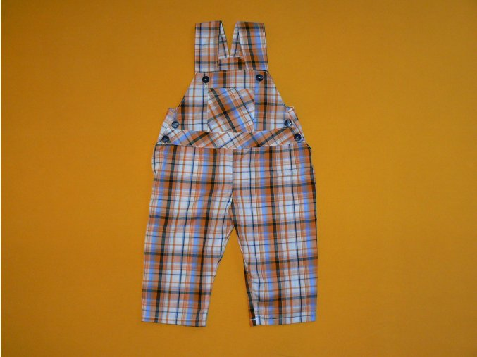 Plátěné kostkované kalhoty s laclem