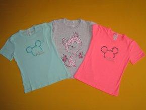 Dívčí tričko krátký rukáv třpytivý potisk 1