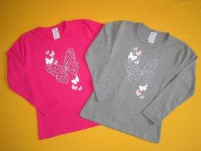 Dívčí tričko Motýl, dlouhý rukáv 1