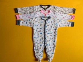 Pyžamový overal dlouhý rukáv drobný motiv