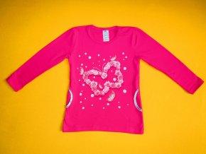 Dívčí tričko - tunika dlouhý rukáv Květinový motýl 1