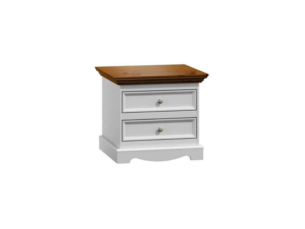 Noční stolek Belluno Elegante, dekor bílá-ořech