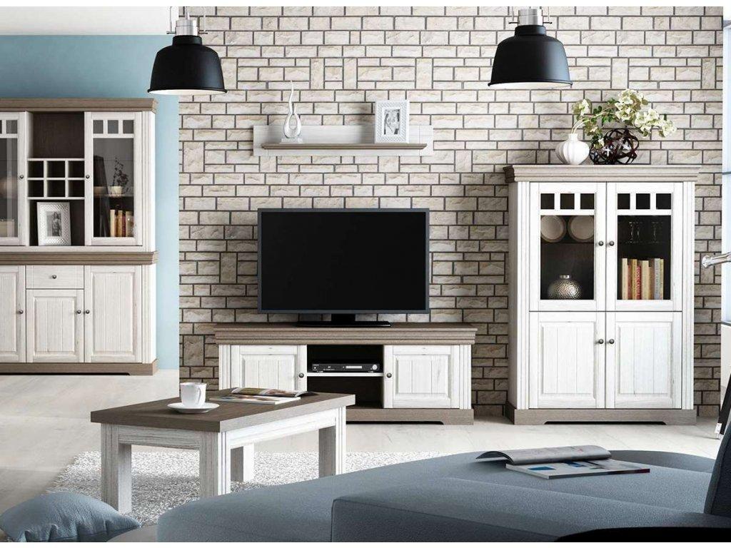Obývací stěna MADERA, dekor bílá-hnědá, masiv, borovice (Montáž Bez montáže)