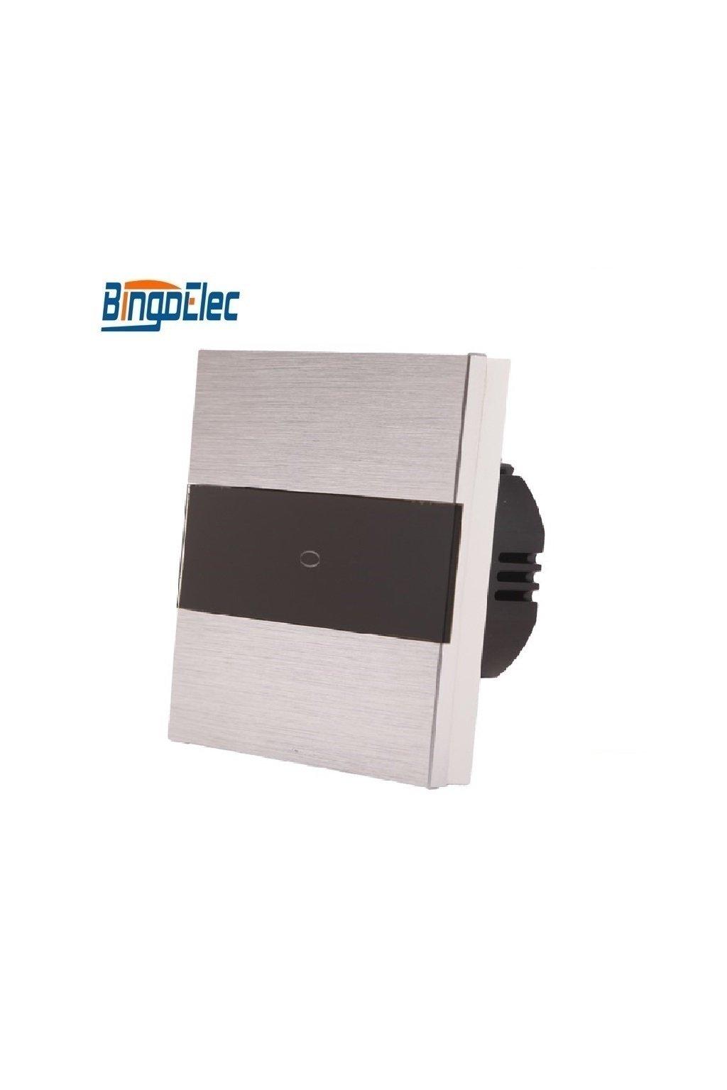 Dotykový vypínač - radenie č.1 - Brúsený hliník s pásikom z čierneho skla