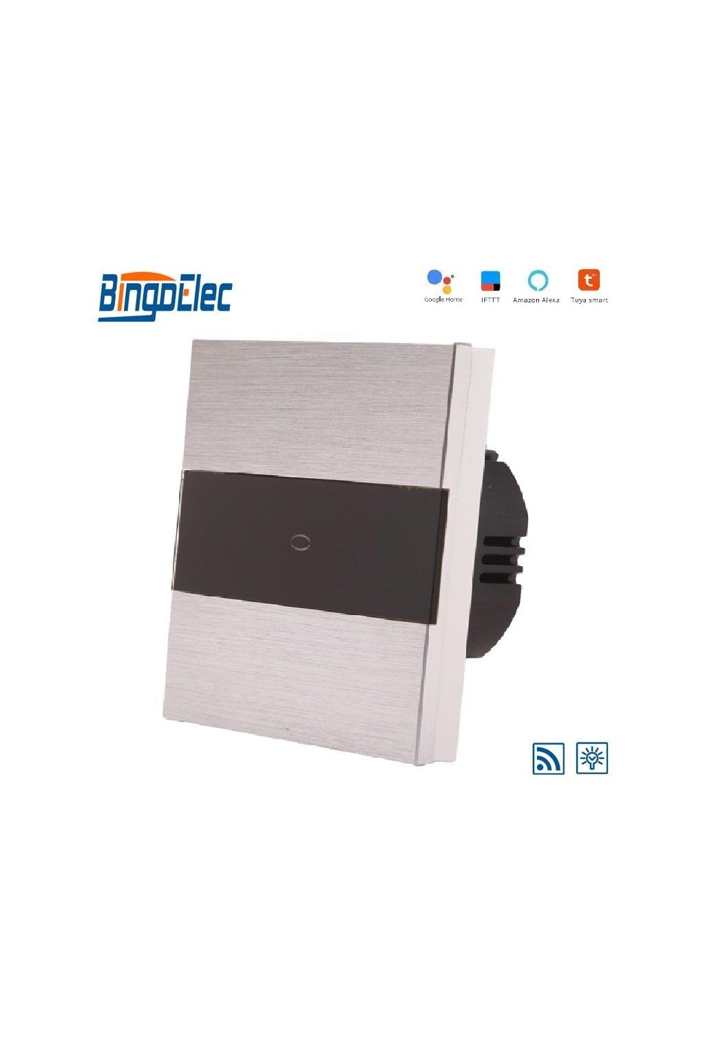 Dotykový stmievač - radenie č.1 s WIFI - Brúsený hliník s pásikom z čierneho skla