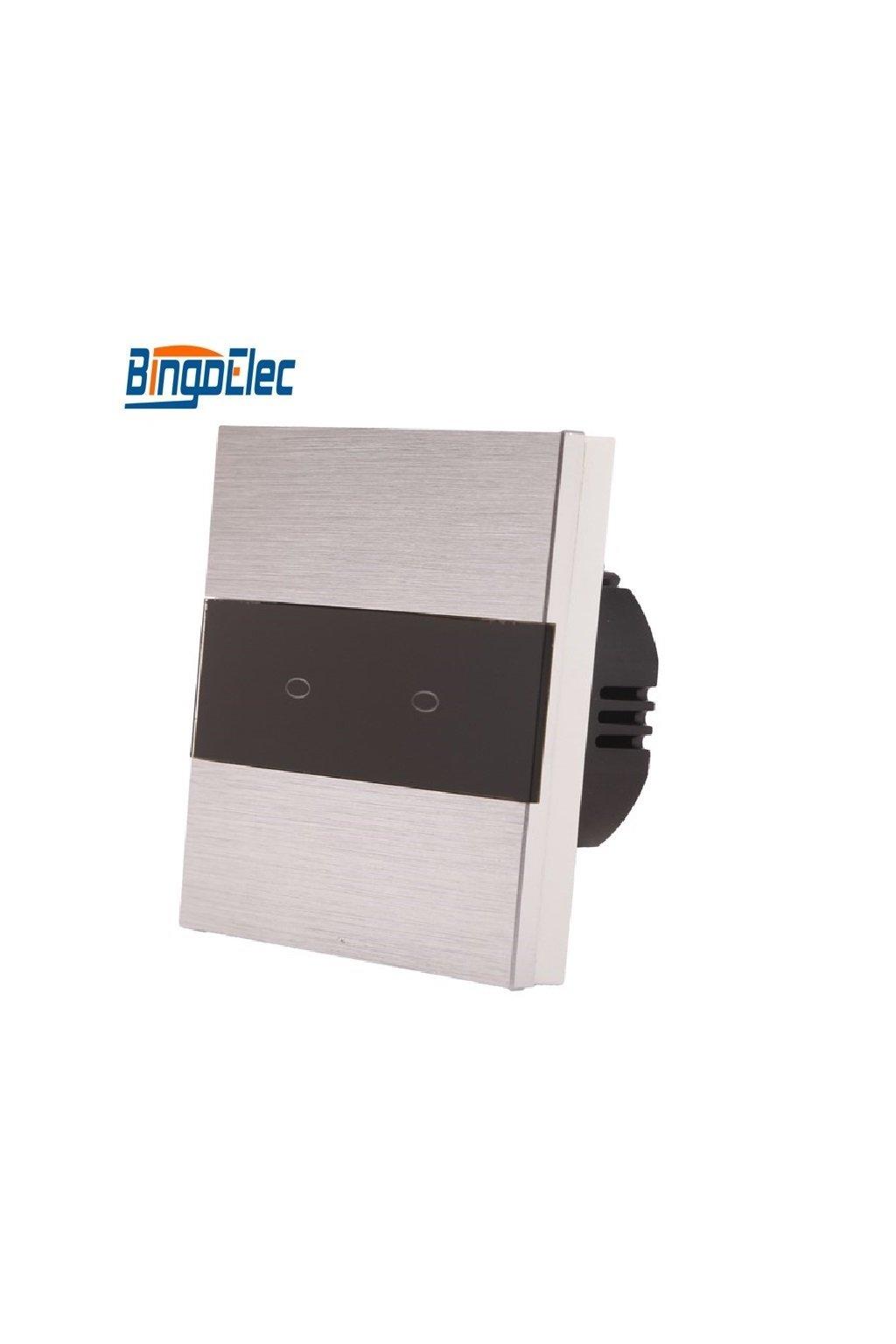 Dotykový vypínač - radenie č.5  (Dva okruhy) - Brúsený hliník s pásikom z čierneho skla