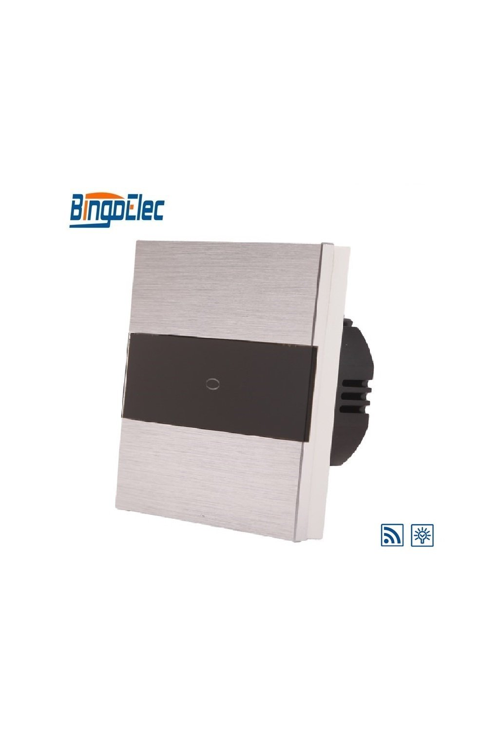 Dotykový stmievač s RF - radenie č.1 - Brúsený hliník s pásikom z čierneho skla