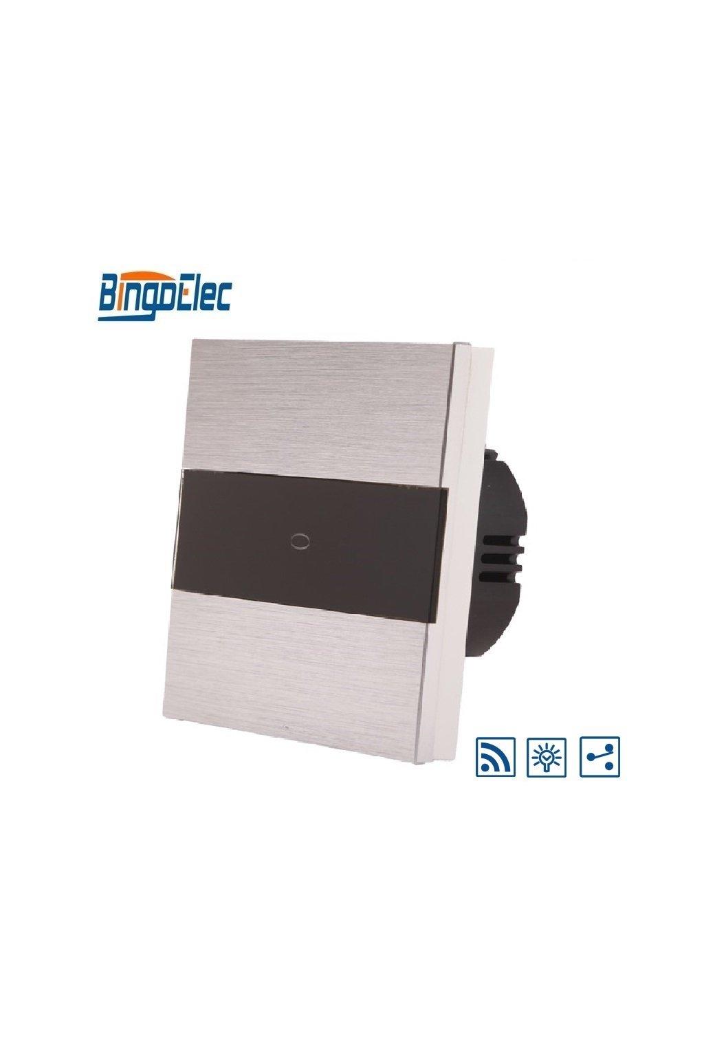 Dotykový stmievač s RF - radenie č.6 - Brúsený hliník s pásikom z čierneho skla