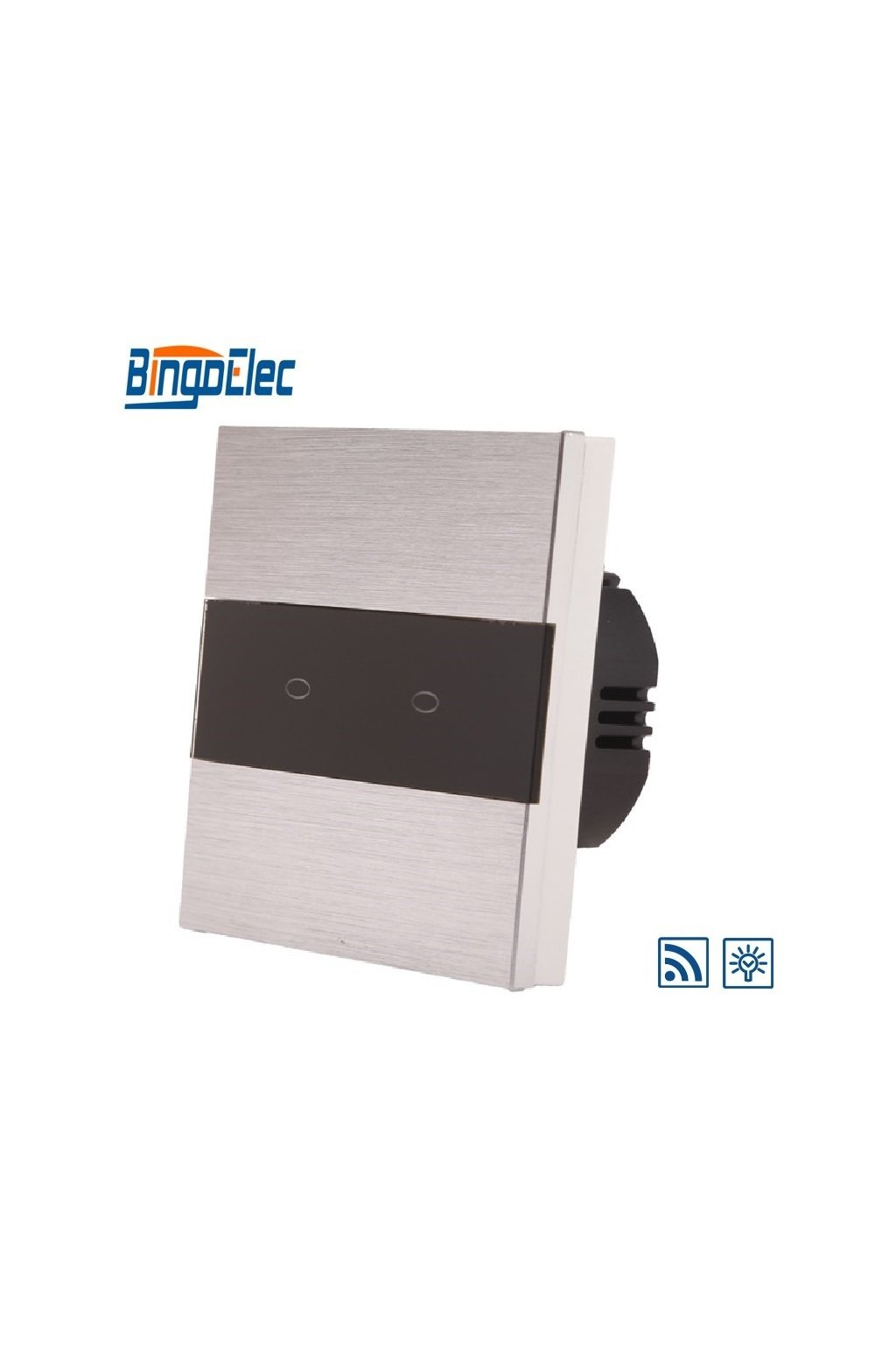 Dotykový stmievač s RF - radenie č.5 - Brúsený hliník s pásikom z čierneho skla