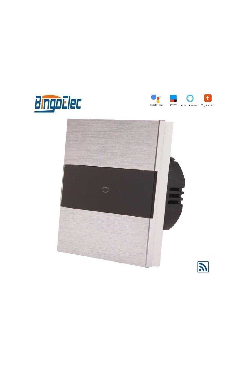 Dotykový vypínač s WIFI - radenie č.1 - Brúsený hliník s pásikom z čierneho skla