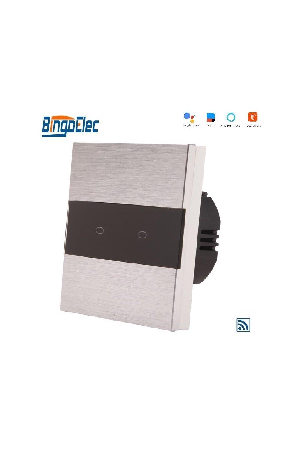 Dotykový vypínač s WIFI - radenie č.5 (Dva okruhy) - Brúsený hliník s pásikom z čierneho skla