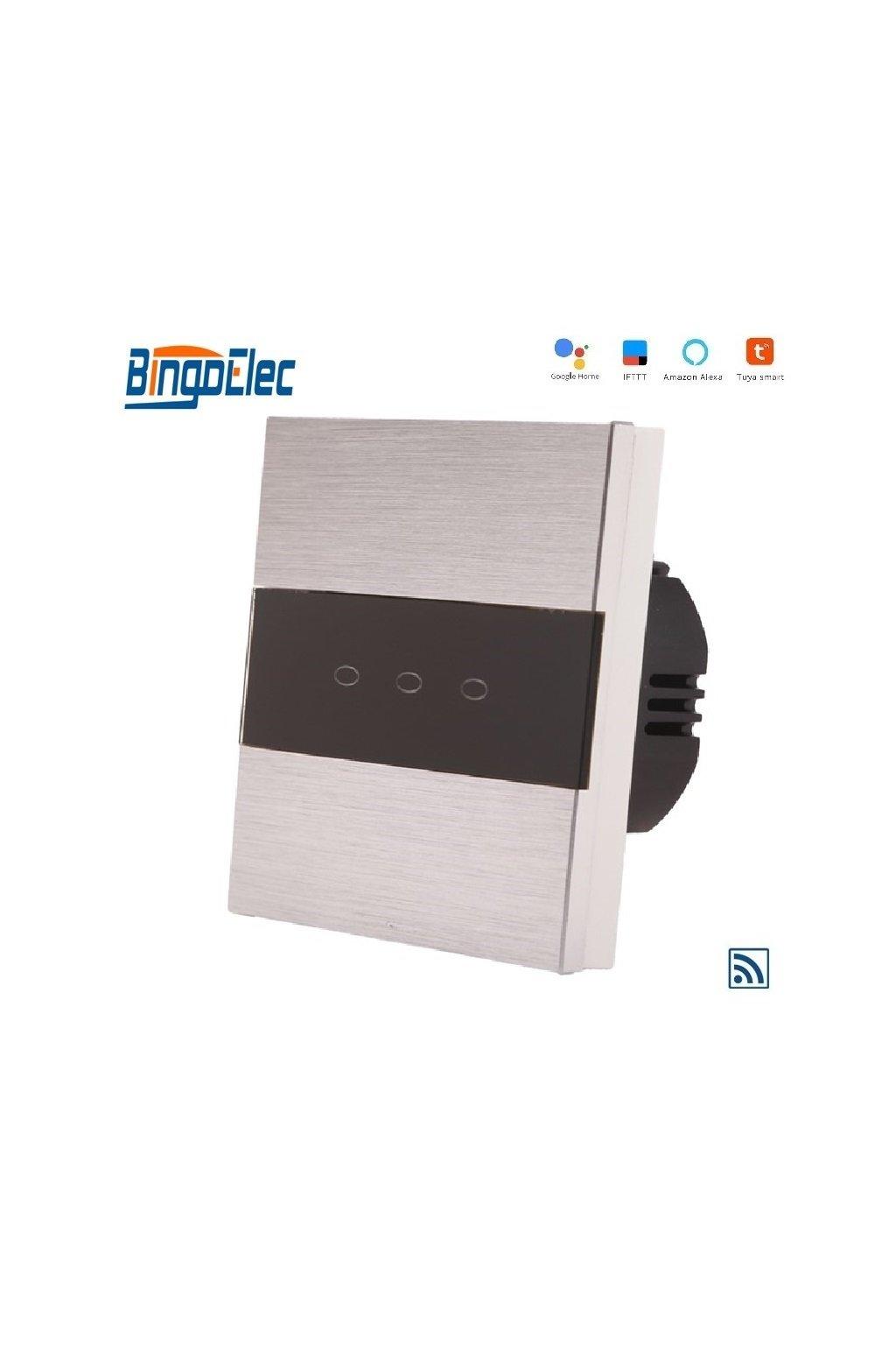 Dotykový vypínač s WIFI - radenie č.5 (Tri okruhy) - Brúsený hliník s pásikom z čierneho skla