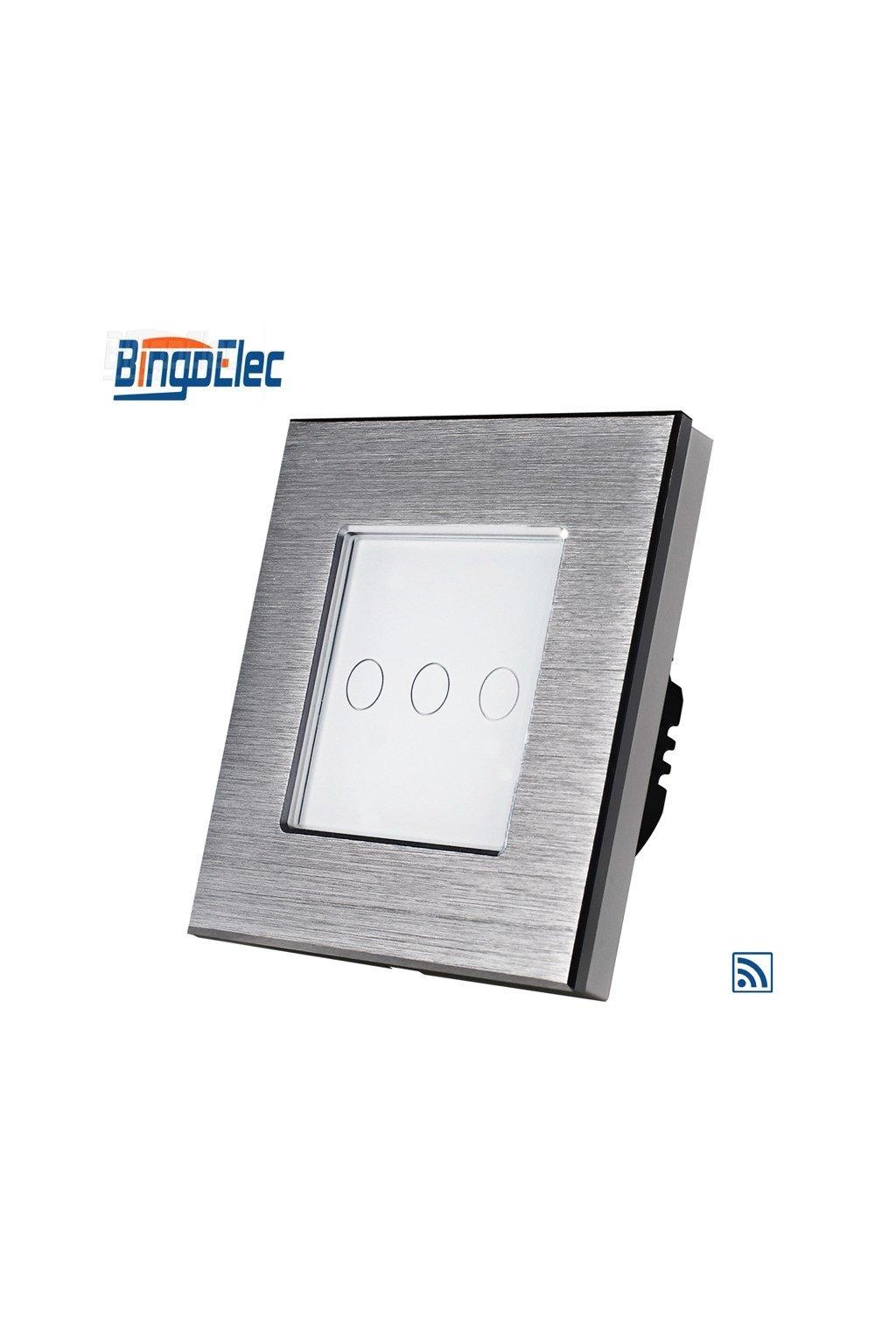 Dotykový vypínač s RF - radenie č.5 (Tri okruhy) - Brúsený hliník