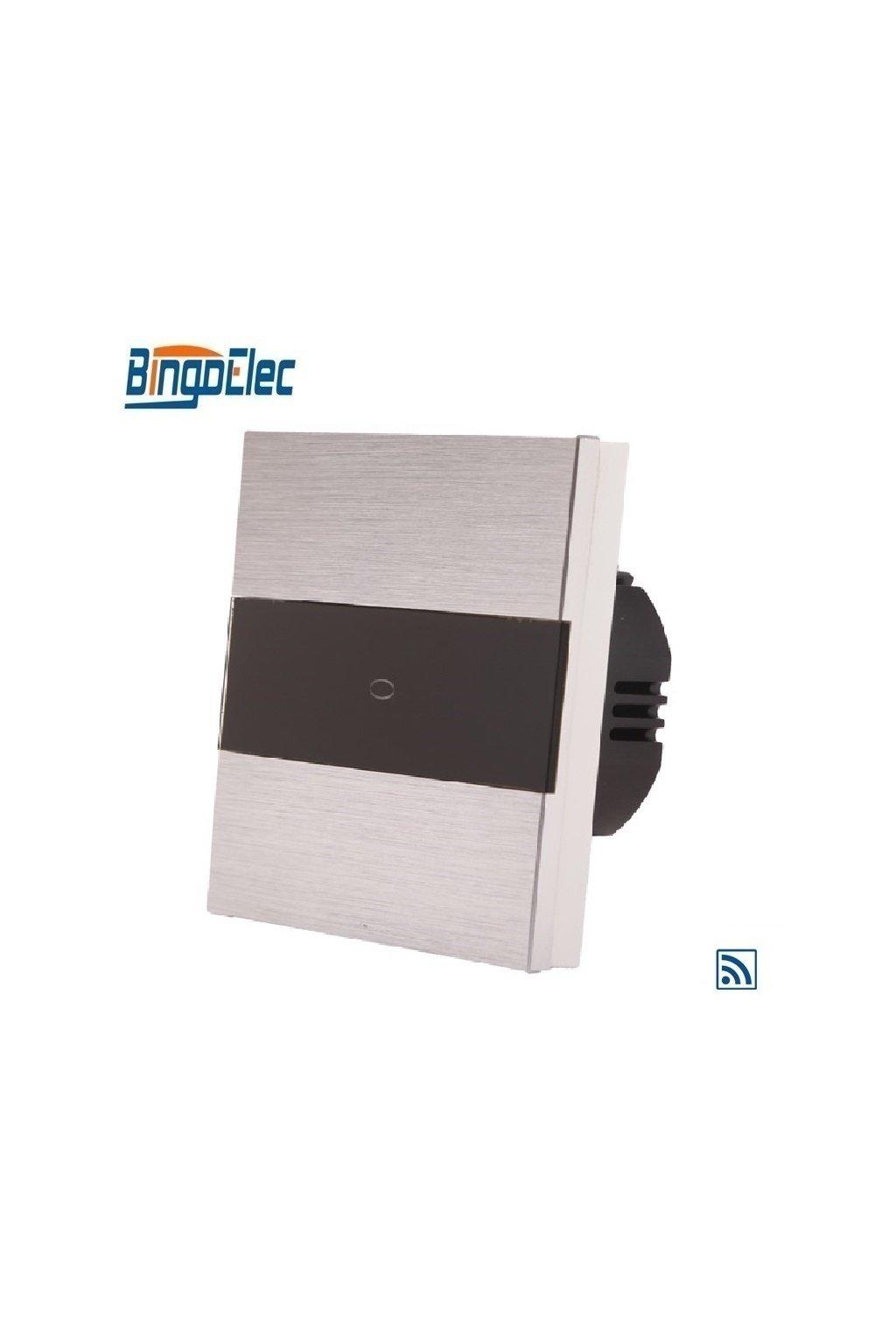 Dotykový vypínač s RF- radenie č.1 - Brúsený hliník s pásikom z čierneho skla