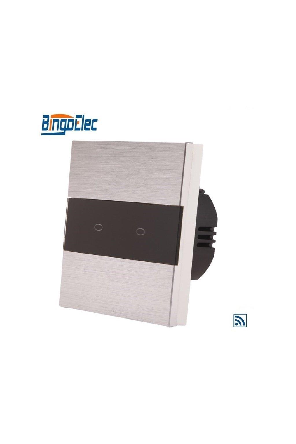 Dotykový vypínač s RF- radenie č.5 (Dva okruhy) - Brúsený hliník s pásikom z čierneho skla