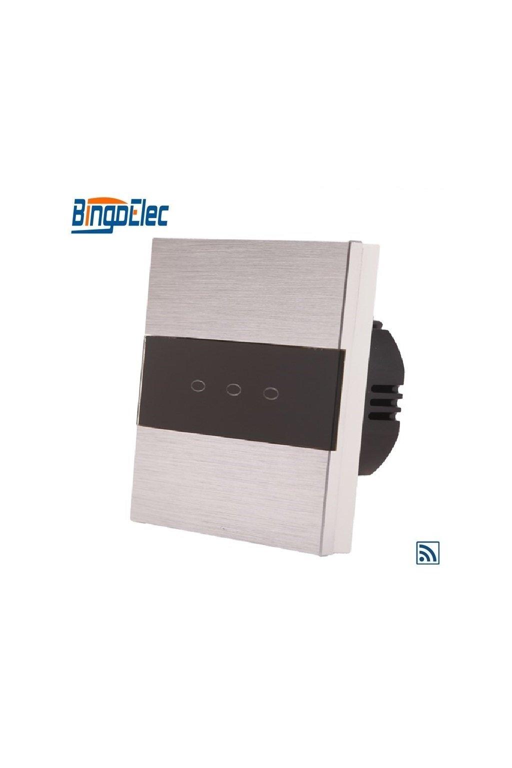 Dotykový vypínač s RF- radenie č.5 (Tri okruhy) - Brúsený hliník s pásikom z čierneho skla
