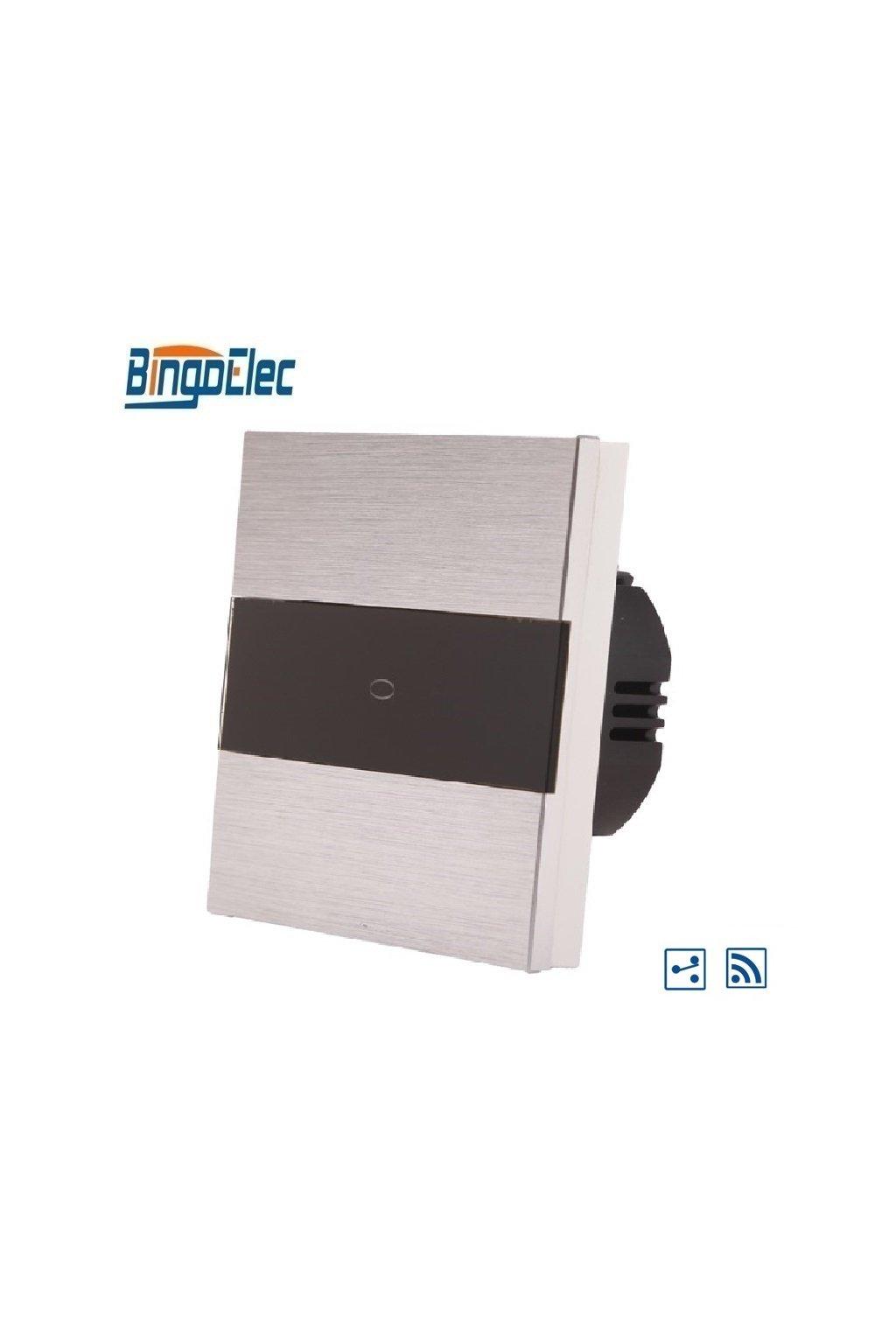 Dotykový vypínač s RF - radenie č.6 - Brúsený hliník s pásikom z čierneho skla