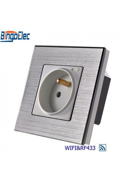 Zásuvka SK WIFI + RF433 v hliníkovom rámiku