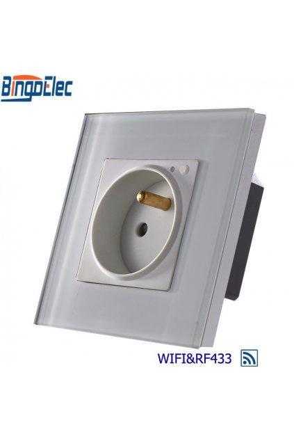 Zásuvka SK WIFI + RF433 v sklenenom rámiku