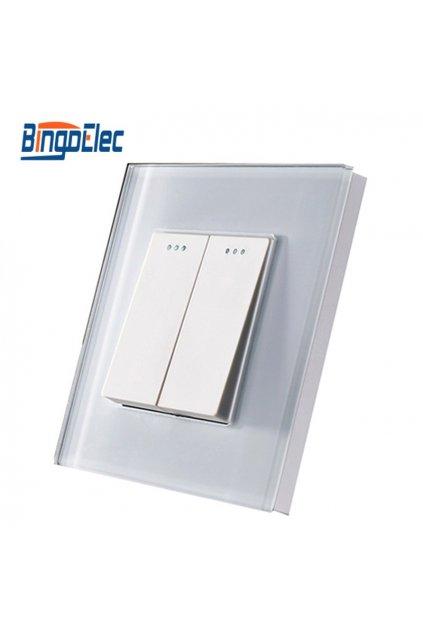 Mechanický vypínač - radenie č.5 (dvojtlačidlový) v sklenenom rámiku