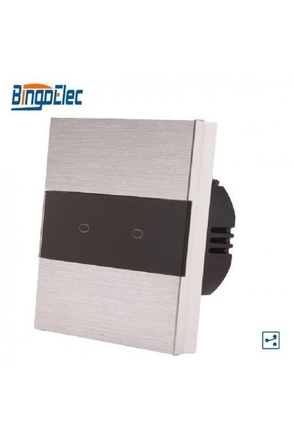 Dotykový vypínač - radenie č.5B (Dva okruhy) - Brúsený hliník s pásikom z čierneho skla