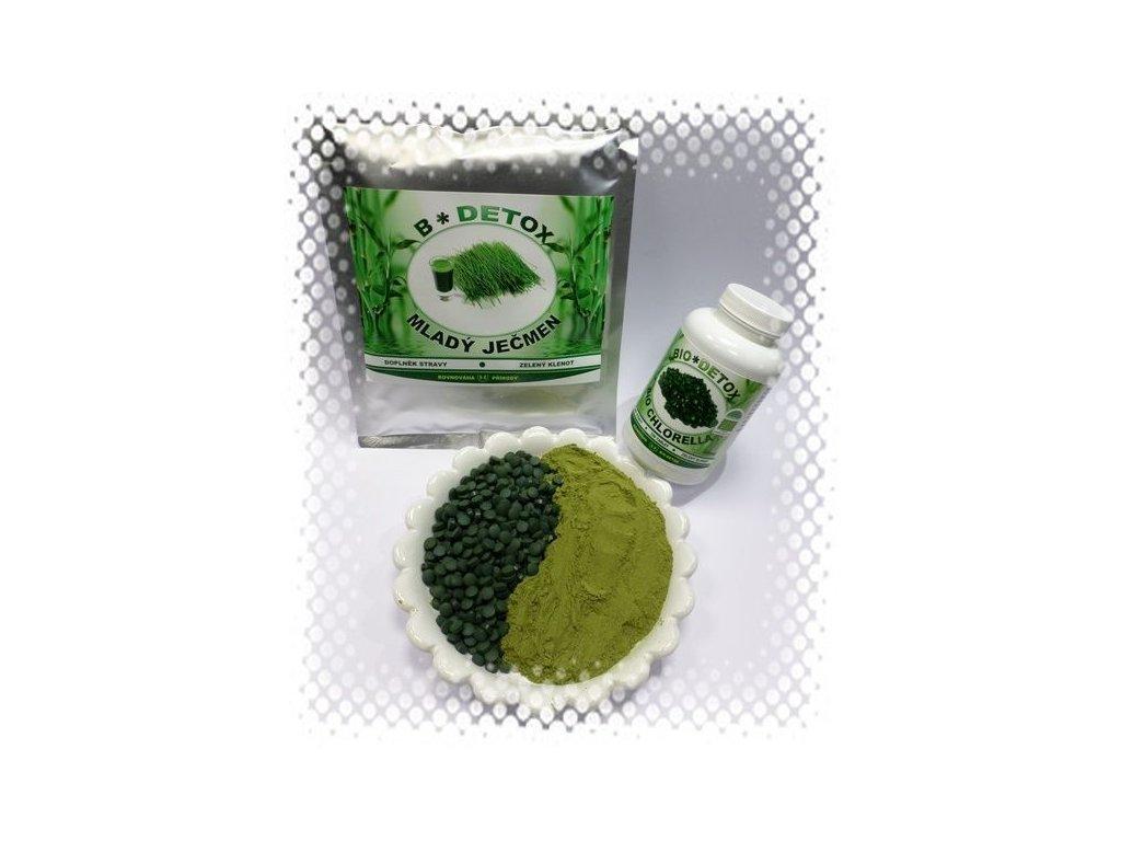 Zvýhodněný balíček Sušená Šťáva z Ječmene 500g + Chlorella 1200t Zvýhodněný balíček