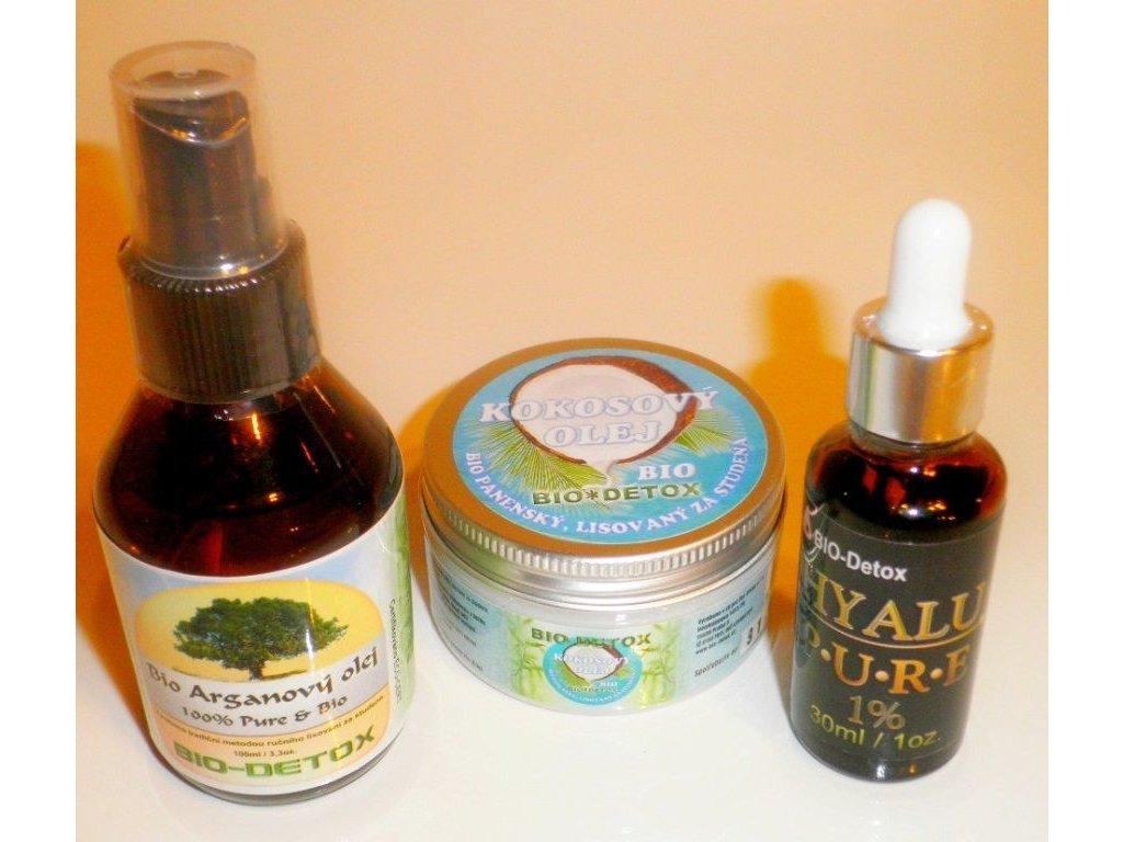 NV Zvýhodněné balíček pro krásnou pokožku Bio Arganový olej 100ml + Kokosový olej 100ml + Kyselina Hyaluronová 3% 30ml