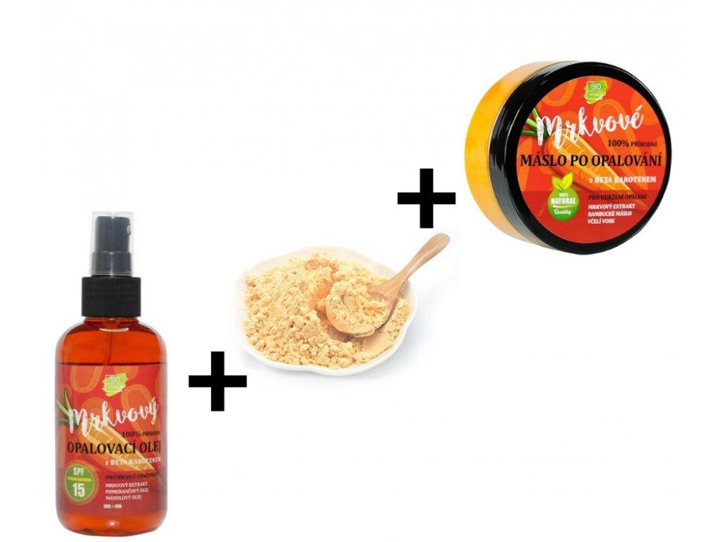 Balíček na opalování (Sušený prášek z Mrkve + Opalovací olej s mrkvovým extraktem SPF 6 + Máslo po opalování s mrkvovým extraktem)