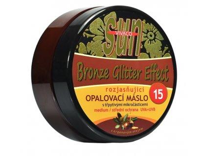 Opalovací máslo Glitter effect s bio arganovým olejem SPF 15 SUN