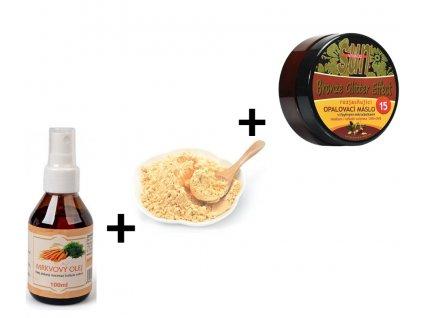 Balíček na opalování (Sušený prášek z Mrkve+Mrkvový olej+ Máslo GLITTER effect s bio arganovým olejem SPF 15