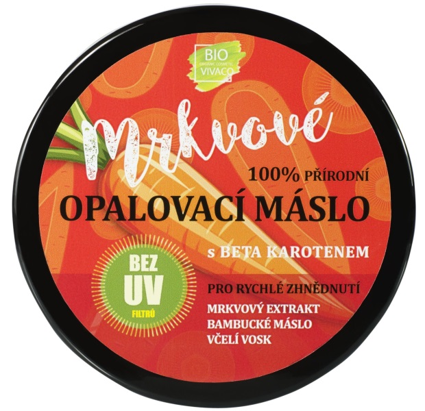Levně 100% Přírodní opalovací máslo s mrkvovým extraktem bez UV filtrů