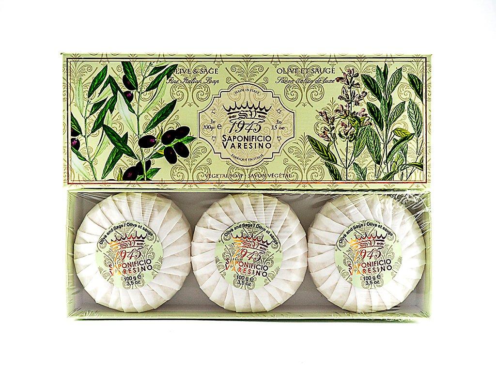 Oliva a Šalvěj 100% přírodní plisovaná mýdla 3 x 100g
