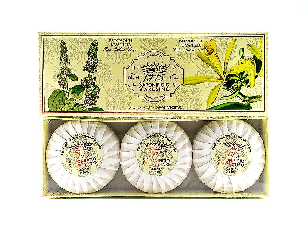 Pačuli a vanilka 100% přírodní mýdla plisovaná 3 x 100g