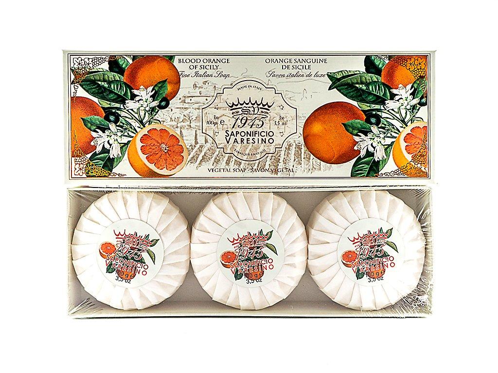 Pomeranč sicilský 100% přírodní plisovaná mýdla 3 x 100g