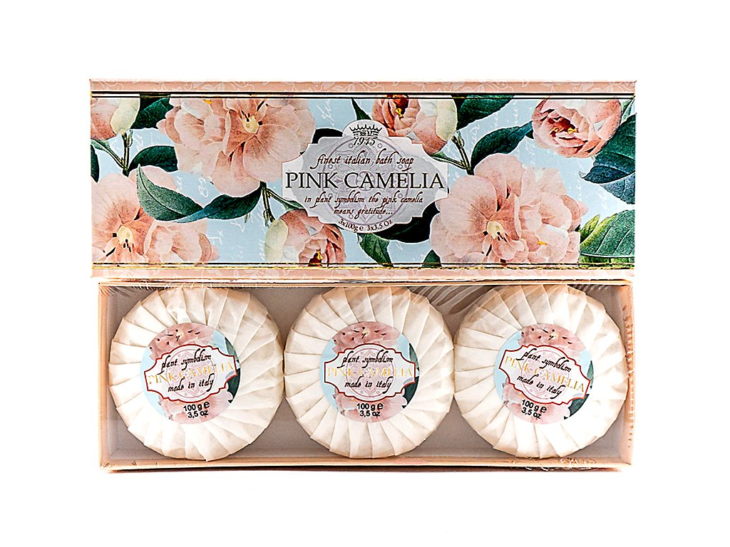 Růžová kamélie 100% přírodní plisovaná mýdla 3x100g