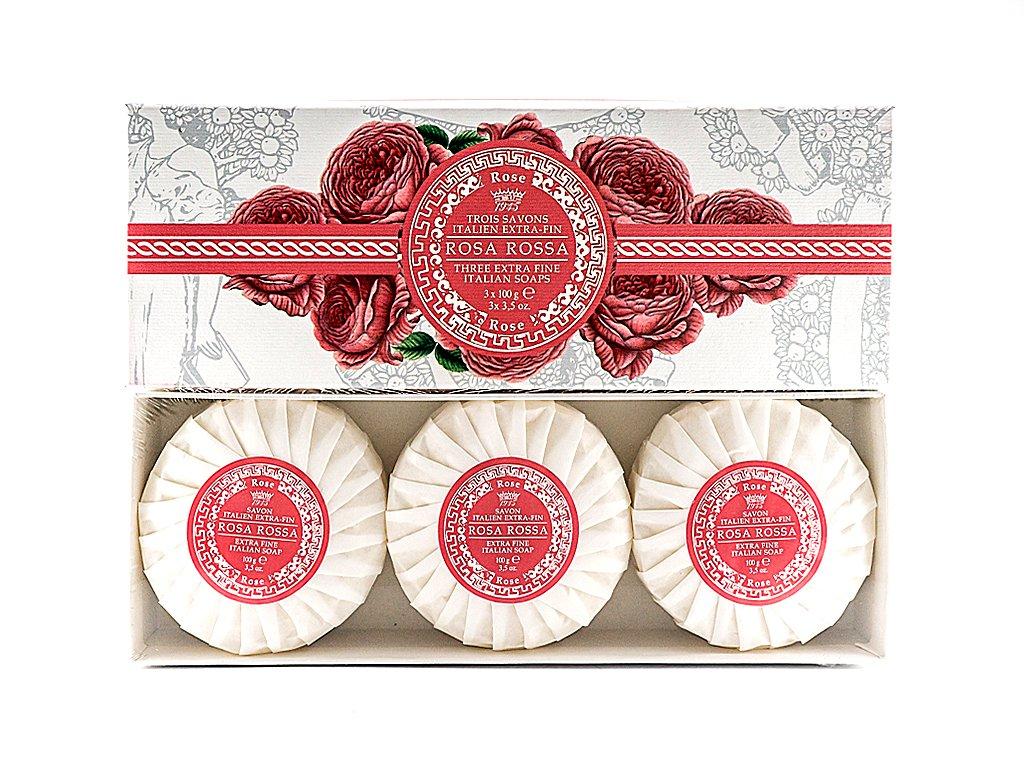 Červená růže 100% přírodní plisovaná mýdla 3 x 100g