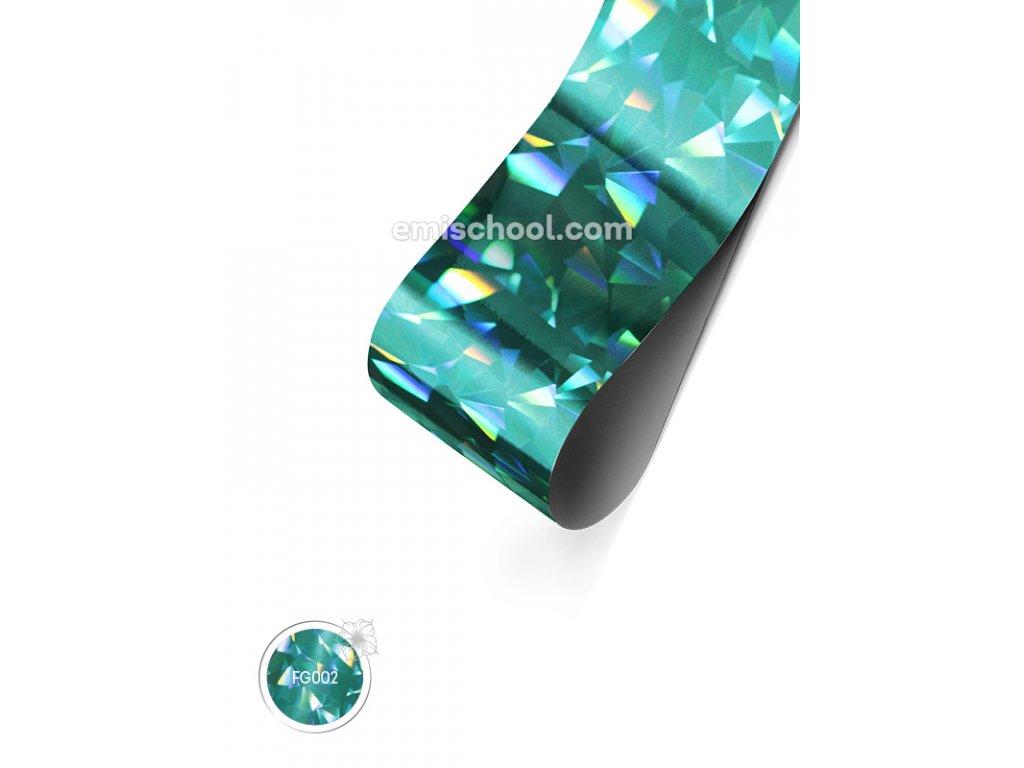 Holografická fólie Turquoise №1 Crystal 1,5 m.