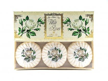 Růže bílé 100% přírodní plisovaná mýdla 3 x 100g