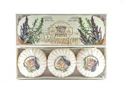 Levandule a rozmarýn 100% přírodní plisovaná mýdla 3 x 100g