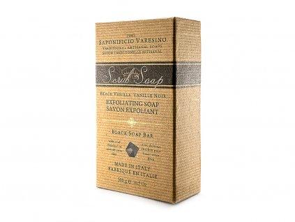 Peelingové černé přírodní mýdlo s uhlím a vanilkou 300g