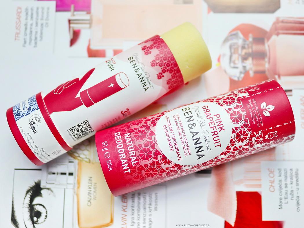Růžový chroust: BEN & ANNA Tuhý deodorant Růžový grapefruit BIO