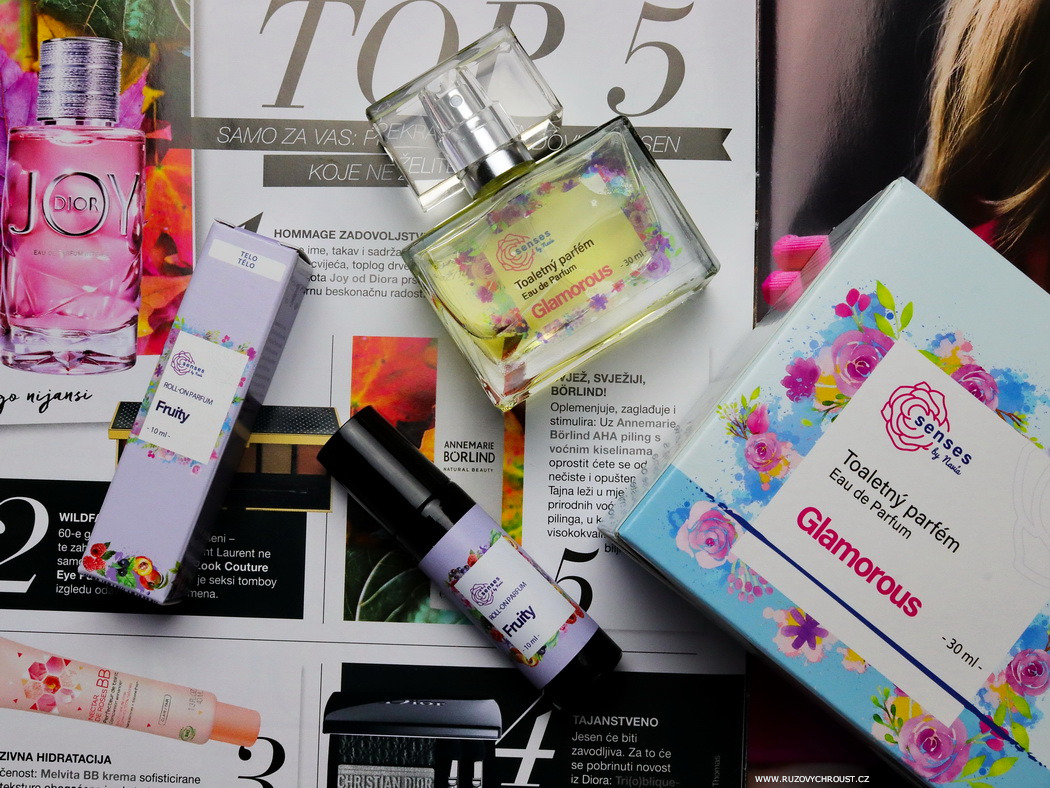 Růžovu chroust: NAVIA Parfémy Senses – toaletní parfém Glamorous a roll-on parfém Fruity