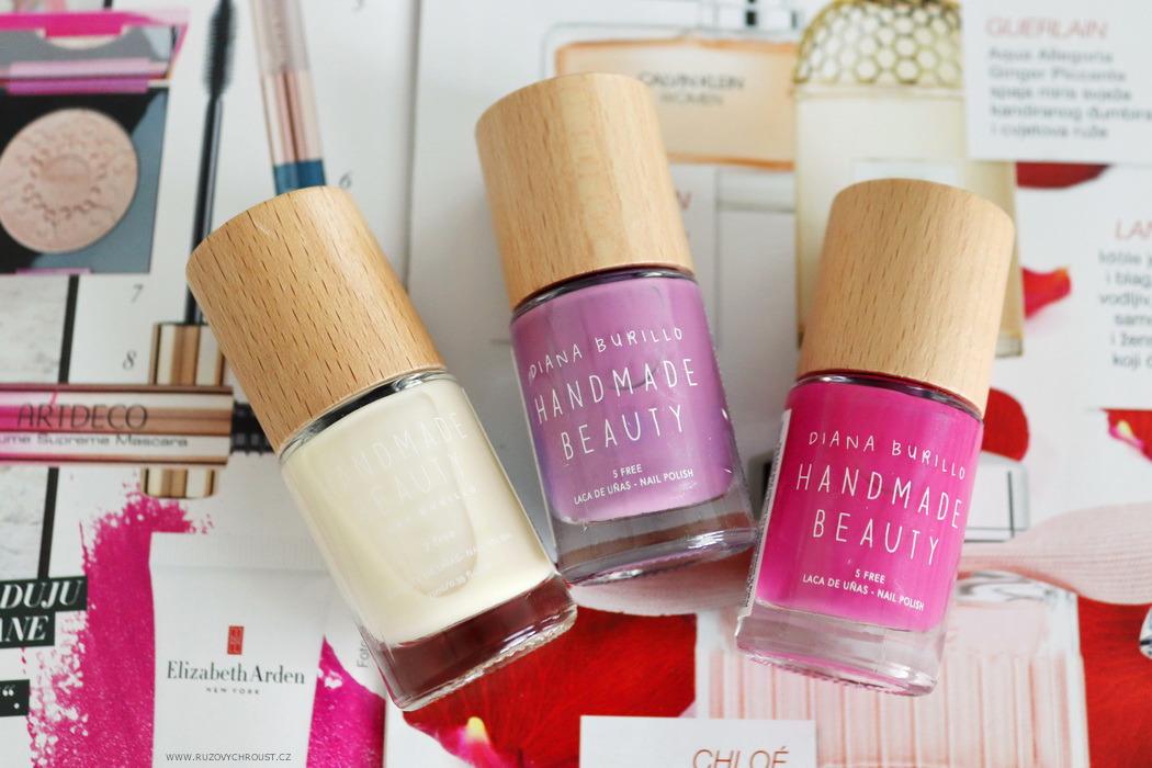 Růžový chroust: HANDMADE BEAUTY Laky na nehty, odstíny Plum, Coconut a Jamaica Flower