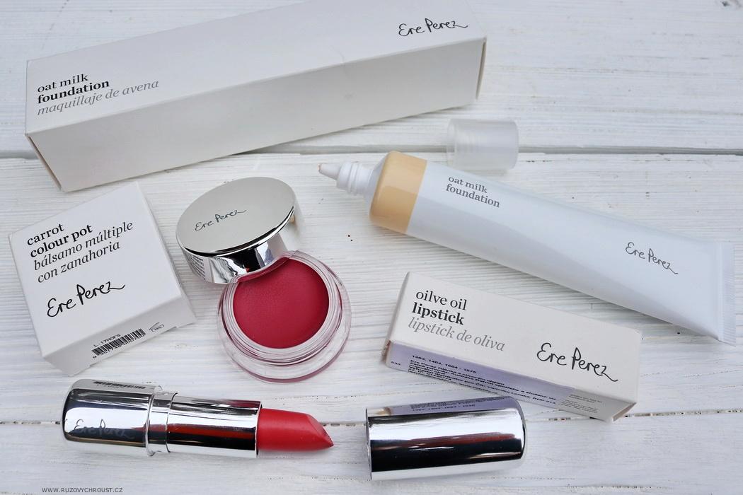 Růžový chroust: ERE PEREZ BIO make-up, multifunkční tvářenka, rtěnka s olivovým olejem