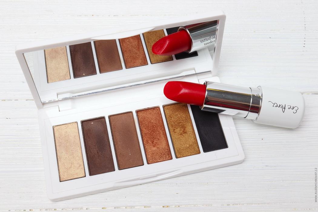 Růžový chroust: ERE PEREZ Paletka očních stínů (odst. Beautiful) a rtěnka s kakaovým máslem (odst. Dash)