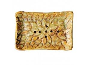 ALMARA SOAP Keramická mýdlenka Kapky - okrová se zeleným