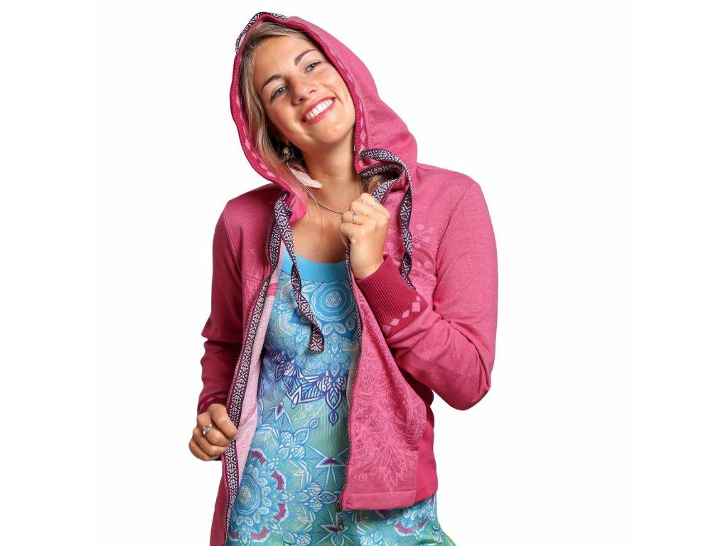 Mikina na zip s kapucí - růžová