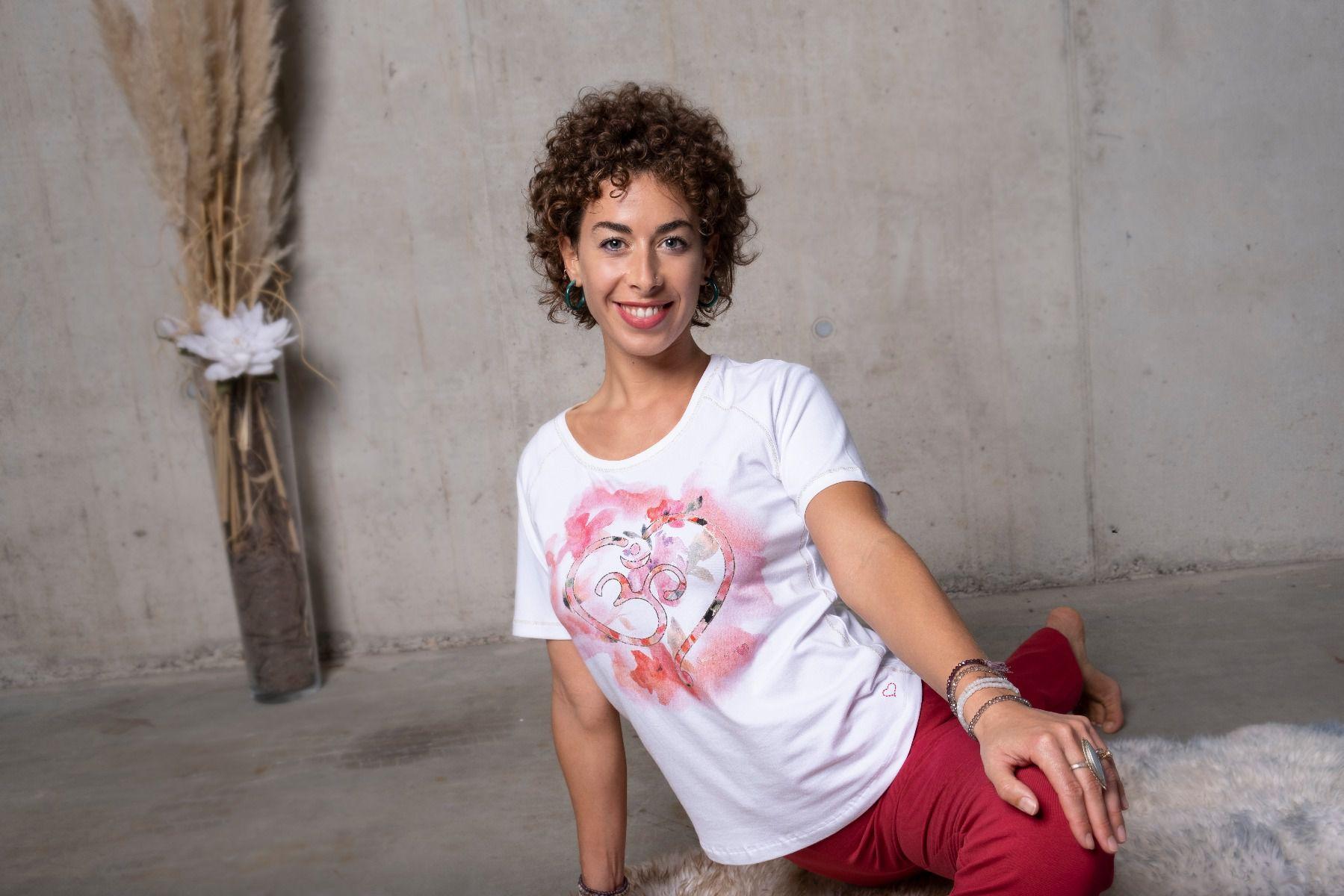 Tričko z bio bavlny s ornamentem OM - bílo-růžové Velikost: XS